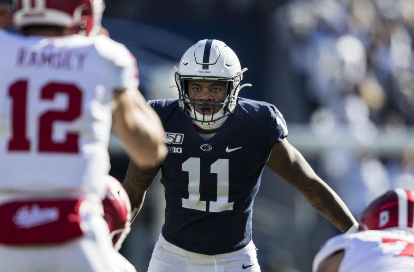 STATE COLLEGE, PA - NOVEMBER 16: Micah Parsons #11 of the Penn State Nittany Lions lines up against the Indiana Hoosiers during the first half at Beaver Stadium on November 16, 2019 in State College, Pennsylvania. (Photo by Scott Taetsch/Getty Images)