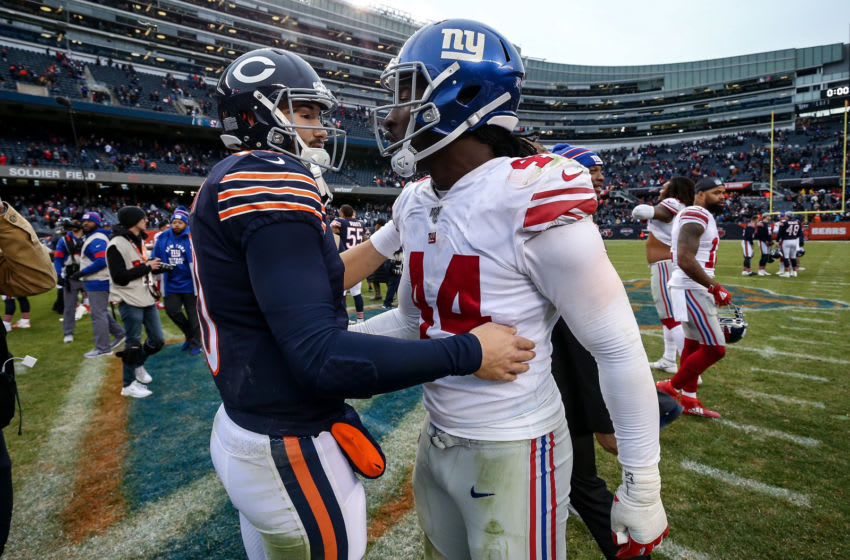 Mitchell Trubisky #10 of the Chicago Bears and Markus Golden #44 of the New York Giants (Photo by Dylan Buell/Getty Images)