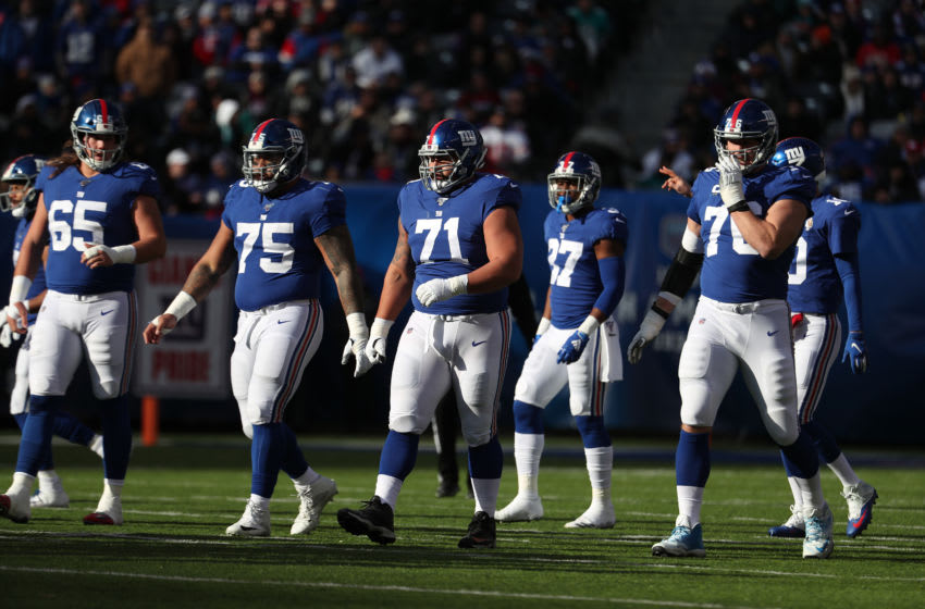 Nick Gates #65, Jon Halapio #75, Will Hernandez #71, and Nate Solder #76 of the New York Giants (Photo by Al Bello/Getty Images)