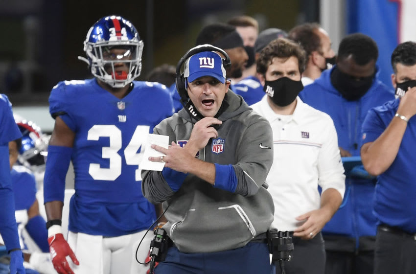 EAST RUTHERFORD, NEW JERSEY - SEPTEMBER 14: Head coach Joe Judge of the New York Giants reacts during the first half against the Pittsburgh Steelers at MetLife Stadium on September 14, 2020 in East Rutherford, New Jersey. (Photo by Sarah Stier/Getty Images)