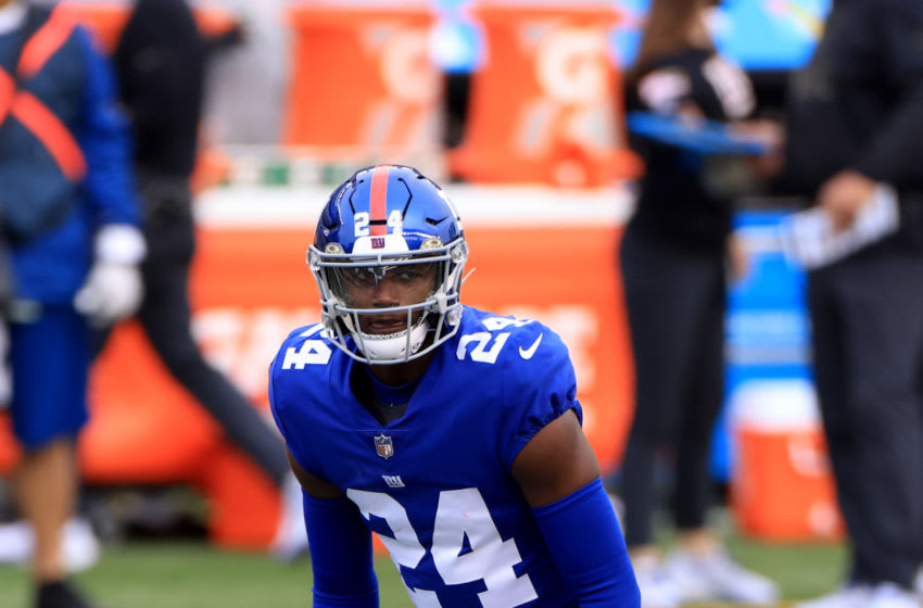 CINCINNATI, OHIO - NOVEMBER 29: James Bradberry #24 of the New York Giants on the field in the game against the Cincinnati Bengals at Paul Brown Stadium on November 29, 2020 in Cincinnati, Ohio. (Photo by Justin Casterline/Getty Images)