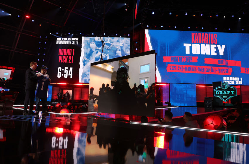 CLEVELAND, OHIO - APRIL 29: NFL Commissioner Roger Goodell announces Kadarius Toney as the 20th selection by the New York Giants during round one of the 2021 NFL Draft at the Great Lakes Science Center on April 29, 2021 in Cleveland, Ohio. (Photo by Gregory Shamus/Getty Images)