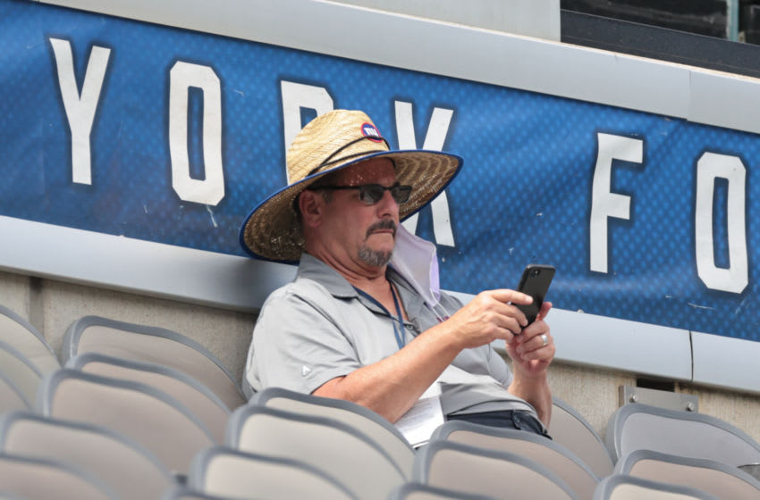 Sep 3, 2020; East Rutherford, New Jersey, USA; New York Giants general manager Dave Gettleman during the Blue-White Scrimmage at MetLife Stadium. Mandatory Credit: Vincent Carchietta-USA TODAY Sports