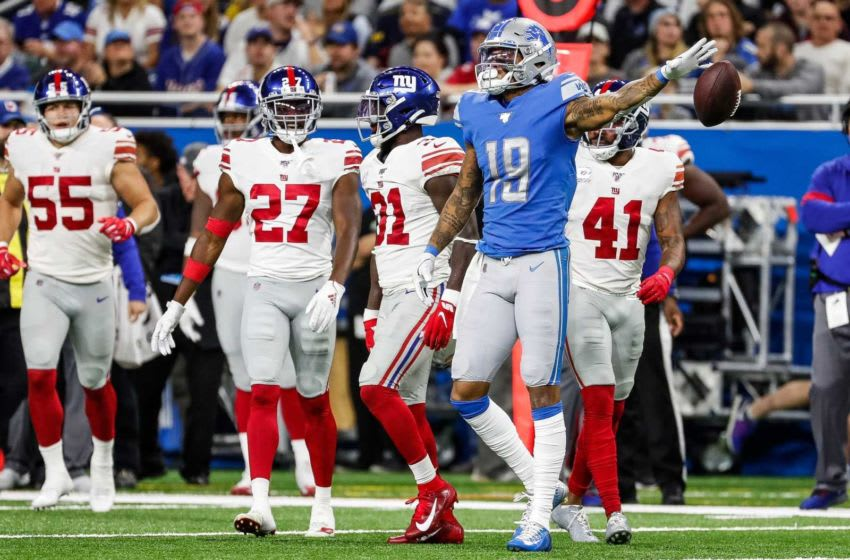 Lions receiver Kenny Golladay celebrates a first down against the Giants at Ford Field, Oct. 27, 2019. Syndication Detroitfreepress