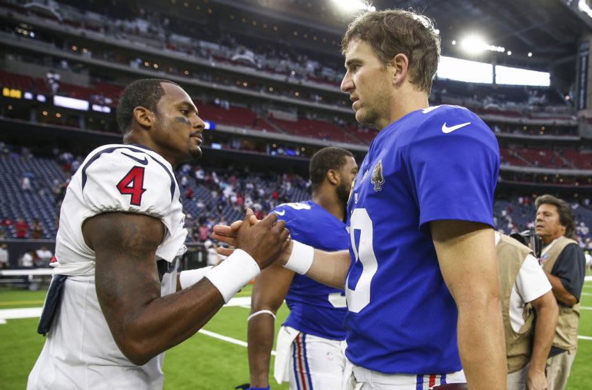 Sep 23, 2018; Houston, TX, USA; Houston Texans quarterback Deshaun Watson (4) shakes hands with New York Giants quarterback Eli Manning (10) after the game at NRG Stadium. Mandatory Credit: Troy Taormina-USA TODAY Sports