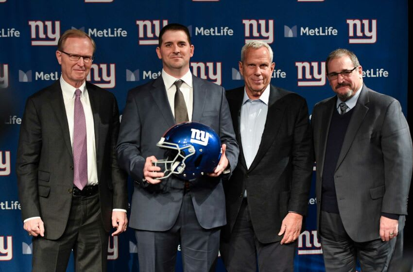 (from left) New York Giants CEO John Mara, new head coach Joe Judge, co-owner Steve Tisch, and general manager Dave Gettleman pose for photos at MetLife Stadium on Thursday, Jan. 9, 2020, in East Rutherford. Ny Giants Joe Judge