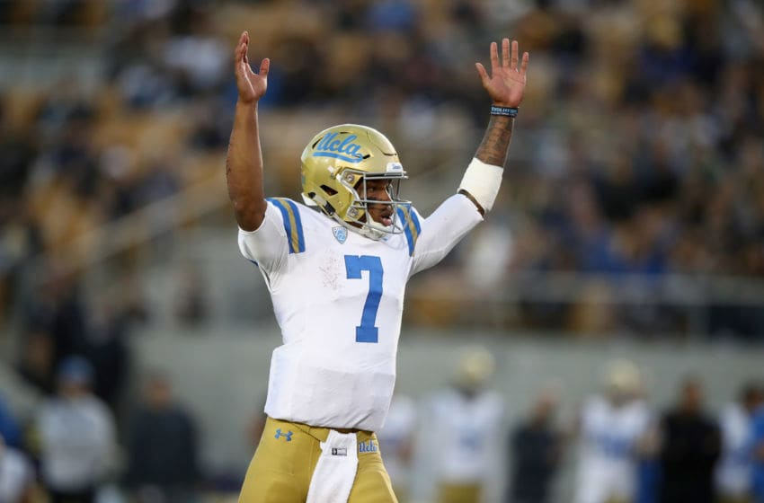 BERKELEY, CA - OCTOBER 13: Dorian Thompson-Robinson #7 of the UCLA Bruins celebrates after the Bruins scored a touchdown against the California Golden Bears at California Memorial Stadium on October 13, 2018 in Berkeley, California. (Photo by Ezra Shaw/Getty Images)