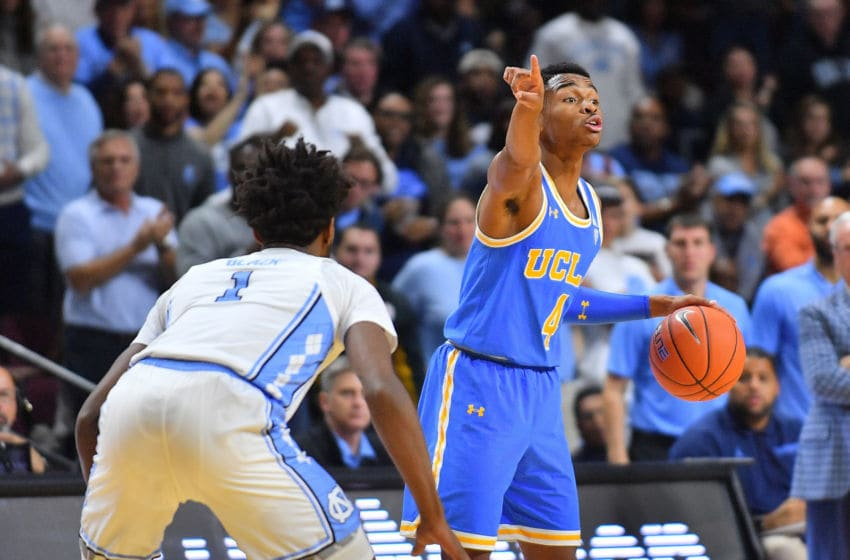 LAS VEGAS, NEVADA - NOVEMBER 23: Jaylen Hands #4 of the UCLA Bruins dribbles against Leaky Black #1 of the North Carolina Tar Heels during the 2018 Continental Tire Las Vegas Invitational basketball tournament at the Orleans Arena on November 23, 2018 in Las Vegas, Nevada. North Carolina defeated UCLA 94-78. (Photo by Sam Wasson/Getty Images)