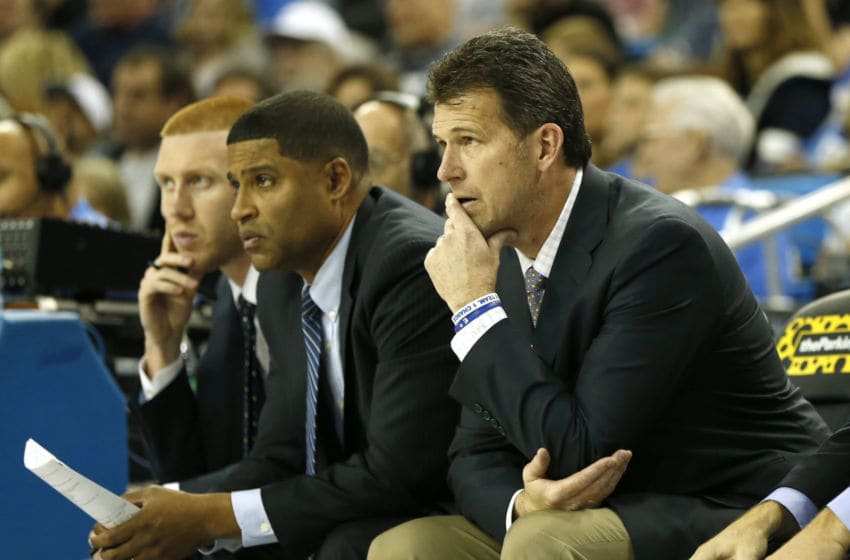 LOS ANGELES, CALIFORNIA - DECEMBER 15: Head Coach Steve Alford of the UCLA Bruins (R) watches the game against the Belmont Bruins during the second half at Pauley Pavilion on December 15, 2018 in Los Angeles, California. (Photo by Katharine Lotze/Getty Images)
