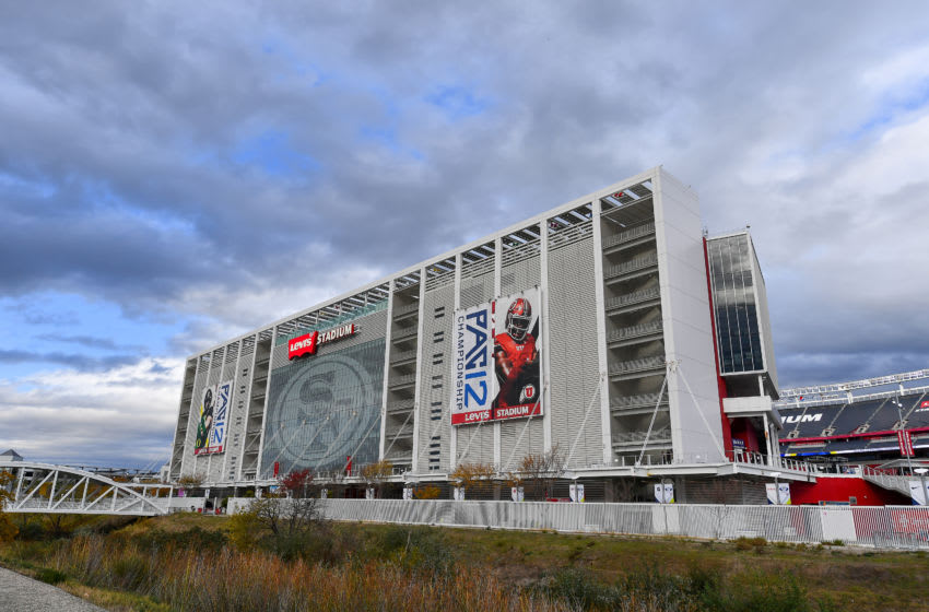 SANTA CLARA, CALIFORNIA - DECEMBER 06: A general exterior view of Levi's Stadium during the Pac-12 Championship football game between the Oregon Ducks and the Utah Utes at Levi's Stadium on December 6, 2019 in Santa Clara, California. The Oregon Ducks won 37-15. (Alika Jenner/Getty Images)