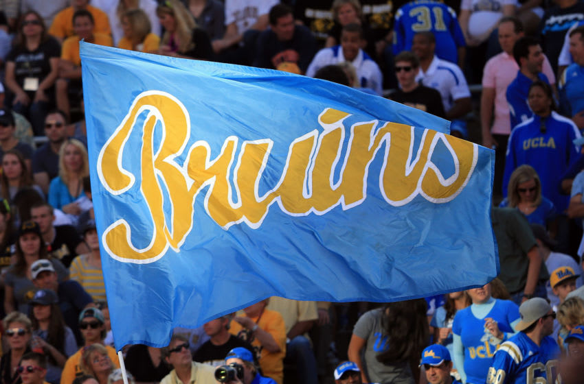 BOULDER, CO - SEPTEMBER 29: The Bruins flag flies as the UCLA Bruins score a touchdown against the Colorado Buffaloes at Folsom Field on September 29, 2012 in Boulder, Colorado. UCLA defeated Colorado 42-14. (Photo by Doug Pensinger/Getty Images)