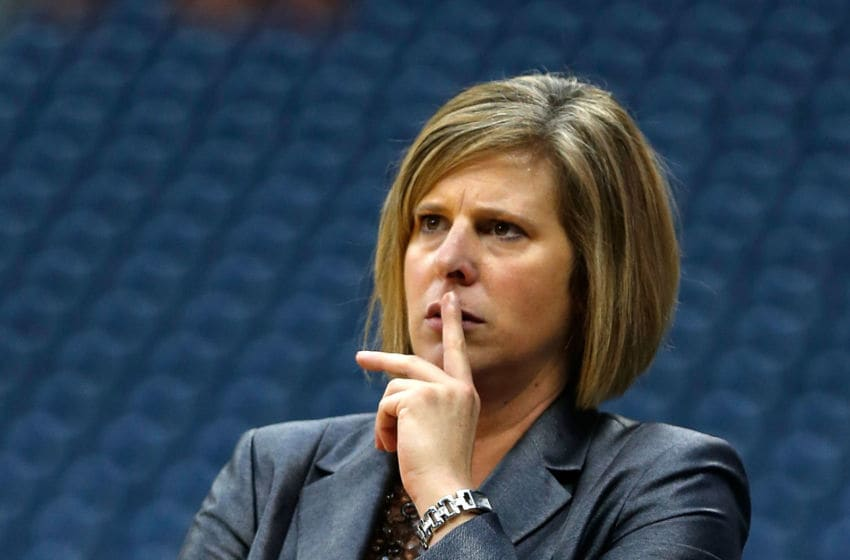 HOUSTON, TX - DECEMBER 08: UCLA Bruins head coach Cori Close watches the play during the game with the Texas Longhorns during the MD Anderson Proton Therapy Showcase at Reliant Stadium on December 8, 2012 in Houston, Texas. (Photo by Scott Halleran/Getty Images)
