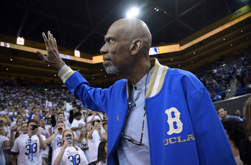 LOS ANGELES, CA - JANUARY 21: Kareem Abdul-Jabbar waves to fans as he arrive to attend the UCLA Bruins and Arizona Wildcats college basketball game at Pauley Pavilion on January 21, 2017 in Los Angeles, California. Abdul-Jabbar was honored at half-time after recently receiving the Presidential Medal of Freedom, from President Barack Obama. (Photo by Kevork Djansezian/Getty Images)
