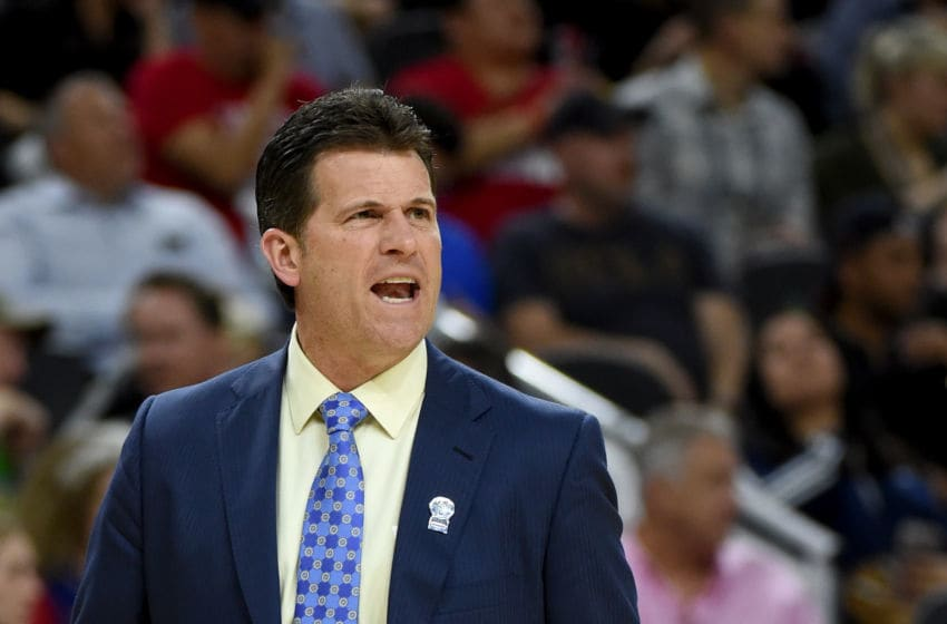 LAS VEGAS, NV - MARCH 10: Head coach Steve Alford of the UCLA Bruins reacts during a semifinal game of the Pac-12 Basketball Tournament against the Arizona Wildcats at T-Mobile Arena on March 10, 2017 in Las Vegas, Nevada. (Photo by Ethan Miller/Getty Images)