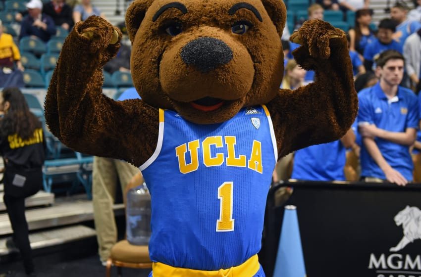 LAS VEGAS, NV - MARCH 09: UCLA Bruins mascot Joe Bruin poses on the court before the team's first-round game of the Pac-12 Basketball Tournament against the USC Trojans at MGM Grand Garden Arena on March 9, 2016 in Las Vegas, Nevada. USC won 95-71. (Photo by Ethan Miller/Getty Images)