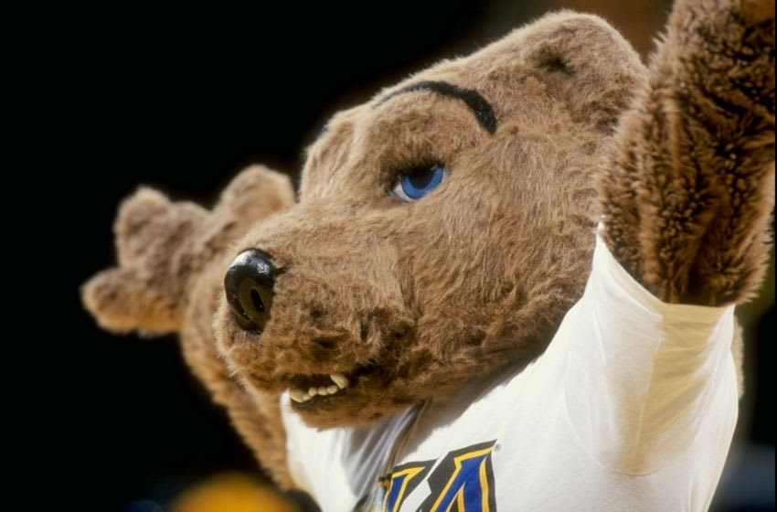 2 Dec 1998: General view of the mascot for the UCLA Bruins in action during the game against the Delaware State Stinging Hornets at Pauley Pavillion in Los Angeles, California. UCLA defeated Delaware State 109-67. Mandatory Credit: David Taylor /Allsport