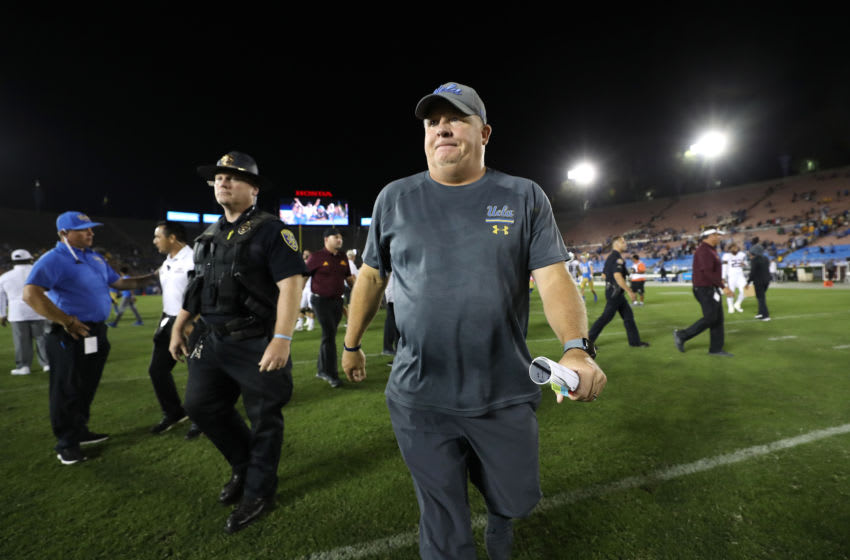 LOS ANGELES, CALIFORNIA - OCTOBER 26: Head coach Chip Kelly of the UCLA Bruins walks off the field after a game against the Arizona State Sun Devils on October 26, 2019 in Los Angeles, California. The UCLA Bruins defeated the Arizona State Sun Devils 42-32. (Photo by Sean M. Haffey/Getty Images)