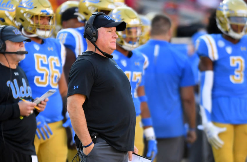 LOS ANGELES, CA - NOVEMBER 23: Head coach Chip Kelly of the UCLA Bruins looks on during the game against the USC Trojans at the Los Angeles Memorial Coliseum on November 23, 2019 in Los Angeles, California. (Photo by Jayne Kamin-Oncea/Getty Images)