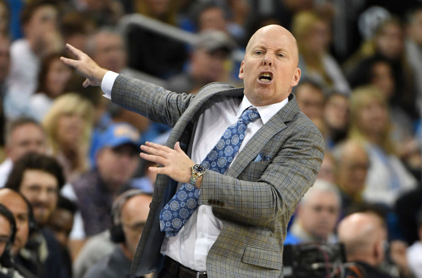 LOS ANGELES, CA - FEBRUARY 29: Head coach Mick Cronin of the UCLA Bruins yells from the bench in the second half of the game against the Arizona Wildcats at Pauley Pavilion on February 29, 2020 in Los Angeles, California. (Photo by Jayne Kamin-Oncea/Getty Images)