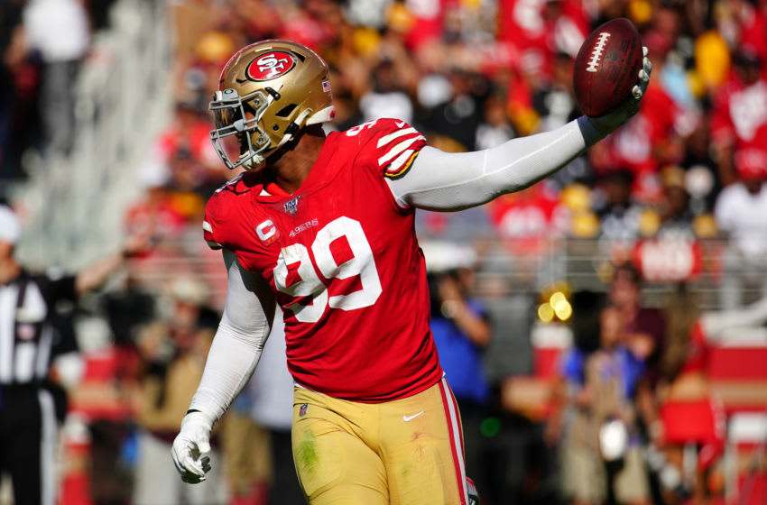 SANTA CLARA, CALIFORNIA - SEPTEMBER 22: DeForest Buckner #99 of the San Francisco 49ers reacts to recovering a fumble during the second half against the Pittsburgh Steelers at Levi's Stadium on September 22, 2019 in Santa Clara, California. (Photo by Daniel Shirey/Getty Images)