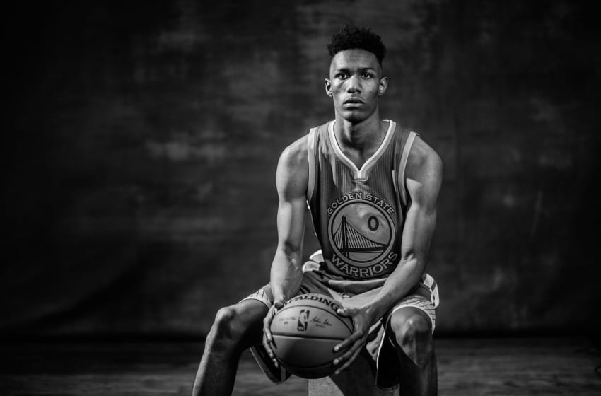 TARRYTOWN, NEW YORK - AUGUST 07: Patrick McCaw #0 of the Golden State Warriors poses for a portrait during the 2016 NBA Rookie Photoshoot at Madison Square Garden Training Center on August 7, 2016 in Tarrytown, New York. NOTE TO USER: User expressly acknowledges and agrees that, by downloading and/or using this Photograph, user is consenting to the terms and conditions of the Getty Images License Agreement. Mandatory Copyright Notice: Copyright 2016 NBAE (Photo by Nick Laham/Getty Images)