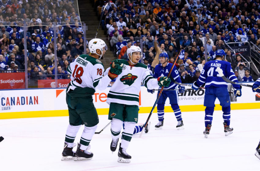TORONTO, ON - JANUARY 03: Minnesota Wild Defenceman Jared Spurgeon (46) celebrates his goal with Minnesota Wild Winger Jordan Greenway (18) during the second period of the NHL regular season game between the Minnesota Wild and the Toronto Maple Leafs on January 3, 2019, at Scotiabank Arena in Toronto, ON, Canada. (Photo by Julian Avram/Icon Sportswire via Getty Images)
