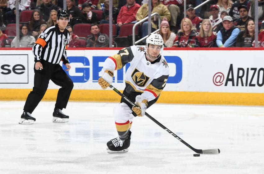 GLENDALE, AZ - DECEMBER 30: Brad Hunt #77 of the Vegas Golden Knights skates with the puck against the Arizona Coyotes at Gila River Arena on December 30, 2018 in Glendale, Arizona. (Photo by Norm Hall/NHLI via Getty Images)