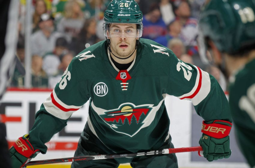 ST. PAUL, MN - MARCH 16: Pontus Aberg #26 of the Minnesota Wild lines up during a game with the New York Rangers at Xcel Energy Center on March 16, 2019 in St. Paul, Minnesota.(Photo by Bruce Kluckhohn/NHLI via Getty Images)