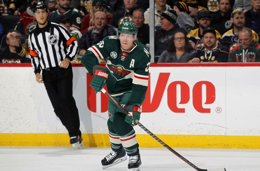 ST. PAUL, MN - APRIL 04: Ryan Suter #20 of the Minnesota Wild makes a pass during a game with the Boston Bruins at Xcel Energy Center on April 4, 2019 in St. Paul, Minnesota.(Photo by Bruce Kluckhohn/NHLI via Getty Images)