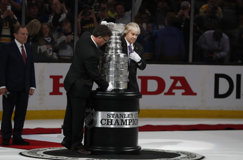 BOSTON, MA - JUNE 12: The Stanley Cup is brought out after Game 7 of the Stanley Cup Final between the Boston Bruins and the St. Louis Blues on June 12, 2019, at TD Garden in Boston, Massachusetts. (Photo by Fred Kfoury III/Icon Sportswire via Getty Images)