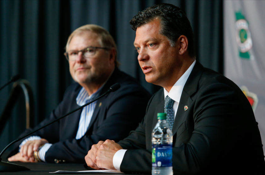 ST. PAUL, MN - AUGUST 22: Craig Leipold, owner of the Minnesota Wild, listens as Bill Guerin answers questions from the media as the new general manager for the team at a press conference at Xcel Energy Center on August 22, 2019 in St. Paul, Minnesota.(Photo by Bruce Kluckhohn/NHLI via Getty Images)