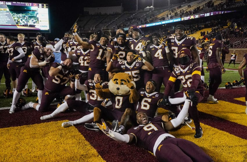 MINNEAPOLIS, MN - OCTOBER 12: University of Minnesota Gophers celebrate post game after the game between the Minnesota Gophers and the University of Nebraska on October 12, 2019, at TCF Bank Stadium in Minneapolis, MN. (Photo by Bryan Singer/Icon Sportswire via Getty Images)