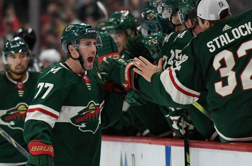 ST PAUL, MINNESOTA - OCTOBER 20: Brad Hunt #77 of the Minnesota Wild celebrates scoring a power play goal against the Montreal Canadiens during the third period of the game at Xcel Energy Center on October 20, 2019 in St Paul, Minnesota. The Wild defeated the Canadiens 4-3. (Photo by Hannah Foslien/Getty Images)