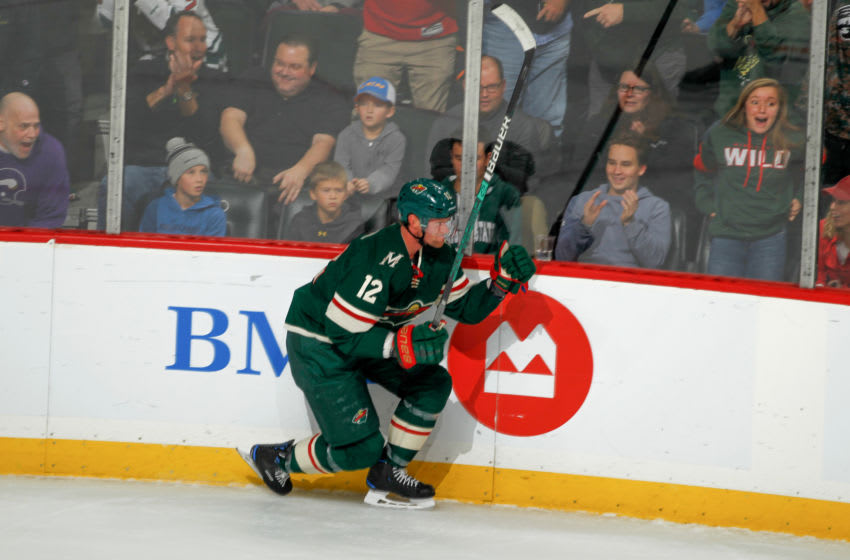 SAINT PAUL, MN - OCTOBER 22: Eric Staal #12 of the Minnesota Wild celebrates after scoring a goal against the Edmonton Oilers during the game at the Xcel Energy Center on October 22, 2019 in Saint Paul, Minnesota. (Photo by Bruce Kluckhohn/NHLI via Getty Images)