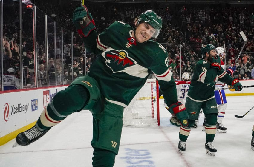 MINNEAPOLIS, MN - OCTOBER 20: Minnesota Wild Left Wing Marcus Foligno (17) scores verses the Montreal Canadians on October 20, 2019, at the Xcel Energy Center in Saint Paul, MN. (Photo by Bryan Singer/Icon Sportswire via Getty Images)