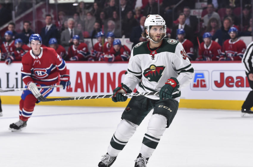 MONTREAL, QC - OCTOBER 17: Ryan Hartman #38 of the Minnesota Wild skates against the Montreal Canadiens during the second period at the Bell Centre on October 17, 2019 in Montreal, Canada. The Montreal Canadiens defeated the Minnesota Wild 4-0. (Photo by Minas Panagiotakis/Getty Images)