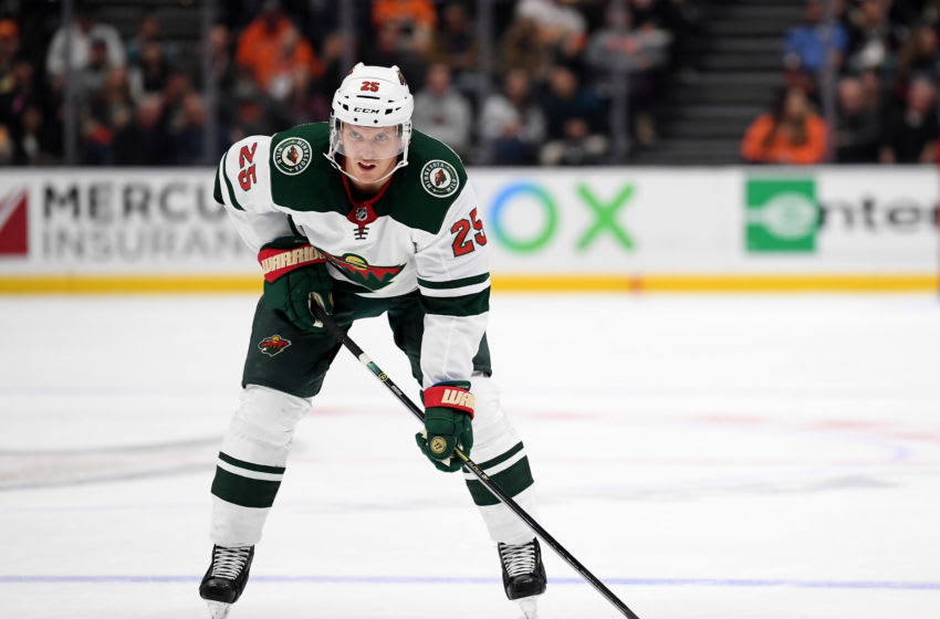 ANAHEIM, CALIFORNIA - NOVEMBER 05: Jonas Brodin #25 of the Minnesota Wild lines up for a faceoff during a 4-2 win over the Anaheim Ducks at Honda Center on November 05, 2019 in Anaheim, California. (Photo by Harry How/Getty Images)