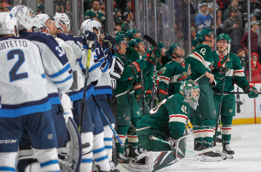 SAINT PAUL, MN - JANUARY 4: The Minnesota Wild and the Winnipeg Jets wait while a goal is reviewed during the game at the Xcel Energy Center on January 4, 2020 in Saint Paul, Minnesota. (Photo by Bruce Kluckhohn/NHLI via Getty Images)