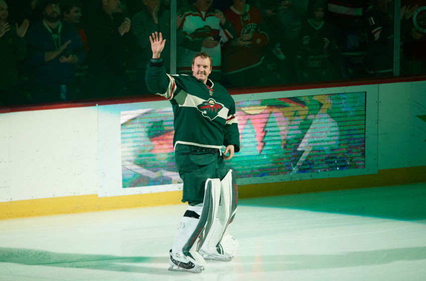 ST PAUL, MINNESOTA - JANUARY 05: Devan Dubnyk #40 of the Minnesota Wild acknowledges the crowd before the game against the Calgary Flames at Xcel Energy Center on January 5, 2020 in St Paul, Minnesota. The Flames defeated the Wild 5-4 in a shootout. (Photo by Hannah Foslien/Getty Images)