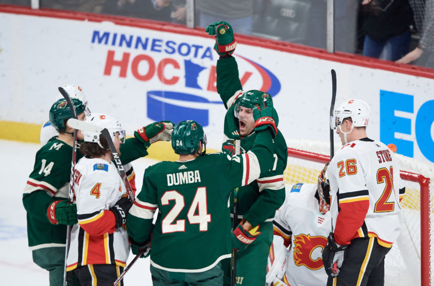 ST PAUL, MINNESOTA - JANUARY 05: Marcus Foligno #17 of the Minnesota Wild celebrates a goal against the Calgary Flames during the game at Xcel Energy Center on January 5, 2020 in St Paul, Minnesota. The Flames defeated the Wild 5-4 in a shootout. (Photo by Hannah Foslien/Getty Images)