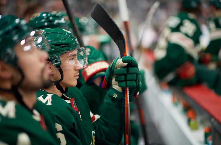ST PAUL, MINNESOTA - JANUARY 05: Jared Spurgeon #46 of the Minnesota Wild looks on during the game against the Calgary Flames at Xcel Energy Center on January 5, 2020 in St Paul, Minnesota. The Flames defeated the Wild 5-4 in a shootout. (Photo by Hannah Foslien/Getty Images)