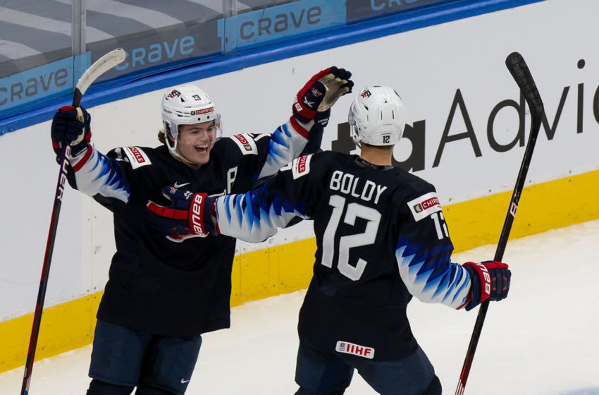 Matt Boldy was among the six players called up by the Minnesota Wild as part of the team's taxi squad for a first-round NHL Stanley Cup playoff series against Las Vegas.(Photo by Codie McLachlan/Getty Images)