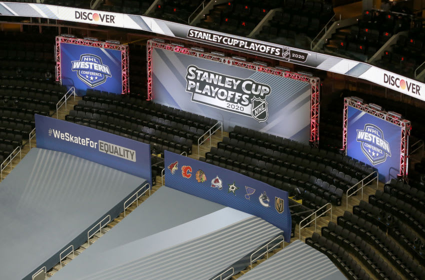 EDMONTON, ALBERTA - AUGUST 12: A general view of the signs during the third period in Game One of the Western Conference First Round between the Arizona Coyotes and the Colorado Avalanche during the 2020 NHL Stanley Cup Playoffs at Rogers Place on August 12, 2020 in Edmonton, Alberta, Canada. (Photo by Jeff Vinnick/Getty Images)
