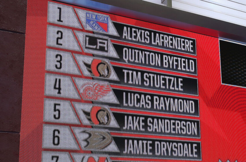 The closeup of the main board during the 2020 NHL Draft held in Seacaucus, New Jersey. Who will the MInnesota Wild select in this year's draft begins Friday. (Photo by Mike Stobe/Getty Images)