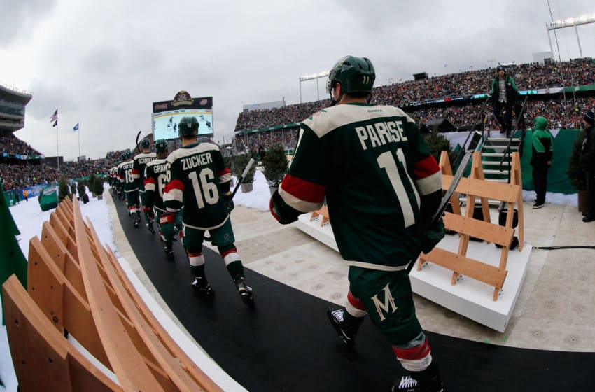 MINNEAPOLIS, MN - FEBRUARY 21: Zach Parise #11 of the Minnesota Wild takes the ice to play in the 2016 Coors Light Stadium Series game against the Chicago Blackhawks at TCF Bank Stadium on February 21, 2016 in Minneapolis, Minnesota. (Photo by Eliot J. Schechter/NHLI via Getty Images)