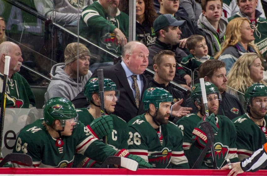 ST. PAUL, MN - JANUARY 13: Minnesota Wild head coach Bruce Boudreau leads his team against the Winnipeg Jets during the game at the Xcel Energy Center on January 13, 2018 in St. Paul, Minnesota. (Photo by Bruce Kluckhohn/NHLI via Getty Images)