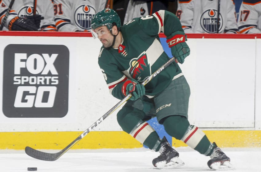 ST. PAUL, MN - APRIL 2: Ryan Murphy #6 of the Minnesota Wild skates with the puck against the Edmonton Oilers during the game at the Xcel Energy Center on April 2, 2018 in St. Paul, Minnesota. (Photo by Bruce Kluckhohn/NHLI via Getty Images)