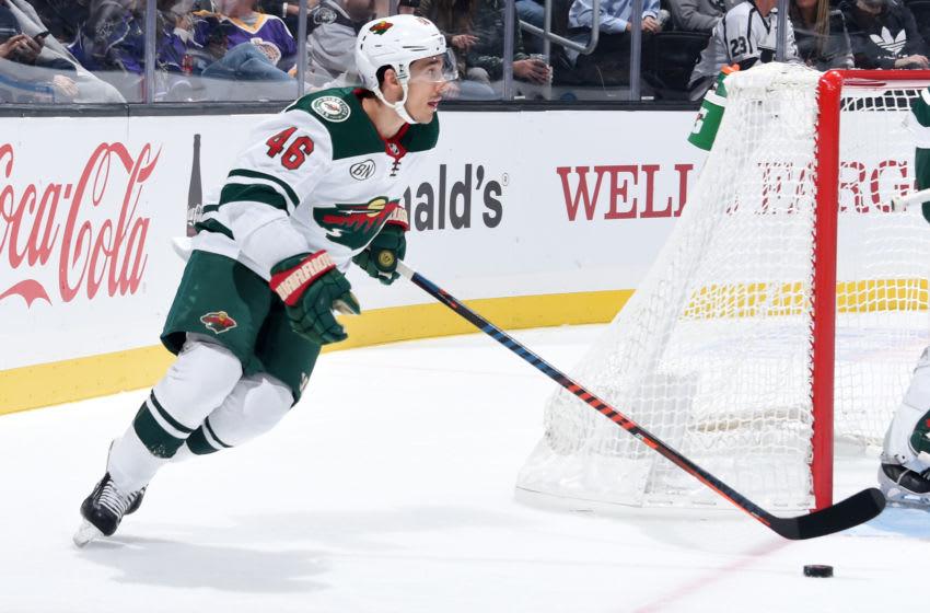 LOS ANGELES, CA - NOVEMBER 8: Jared Spurgeon #46 of the Minnesota Wild skates with the puck during the first period of the game against the Los Angeles Kings at STAPLES Center on November 8, 2018 in Los Angeles, California. (Photo by Adam Pantozzi/NHLI via Getty Images) *** Local Caption ***