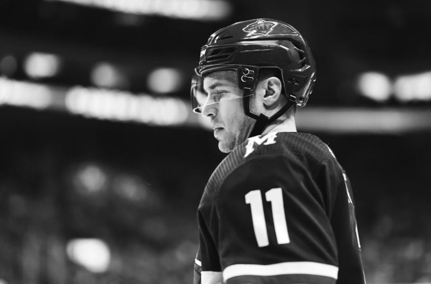 ST. PAUL, MN - MARCH 19: (EDITORS NOTE: This image has been converted to black and white) Zach Parise #11 of the Minnesota Wild looks on in the first period before the face off against the Colorado Avalanche on March 19, 2019 at Xcel Energy Center in St. Paul, Minnesota. The Colorado Avalanche defeated the Minnesota Wild 3-1. (Photo by David Berding/Icon Sportswire via Getty Images)