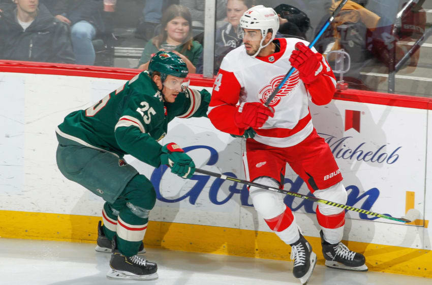 SAINT PAUL, MN - JANUARY 22: Jonas Brodin #25 of the Minnesota Wild defends Robby Fabbri #14 of the Detroit Red Wings during the game at the Xcel Energy Center on January 22, 2020 in Saint Paul, Minnesota. (Photo by Bruce Kluckhohn/NHLI via Getty Images)